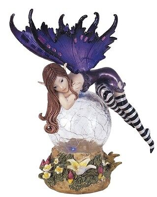 "5"" Inch Purple Fairy LED Light Crystal Ball Fantasy Decoration Statue Figurine"
