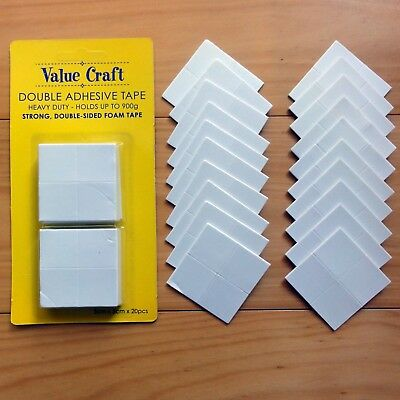 HEAVY DUTY DOUBLE-SIDED FOAM ADHESIVE TAPE 5CM x 5CM SQUARES x 20 PIECES - BNIP