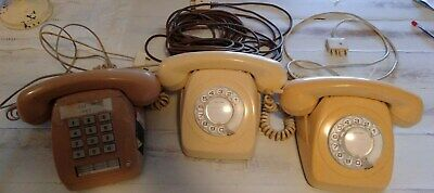 Set of 3 vintage Corded Telephone, Telecom Australia Analogue