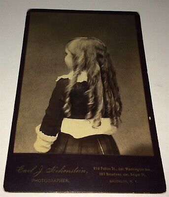 Rare American ID'd Boy Edgar Woodward, Back Hairstyle Victorian NY Cabinet Photo