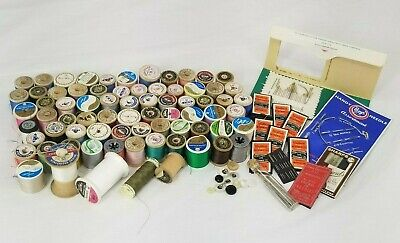 Vintage Sewing Thread & Needles 70 Spools Thread & 13 Packs Needles 1940s-1960s