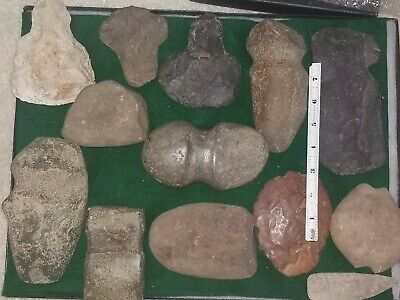 Ancient Stone Tool Lot, Axes, Mauls, Celts