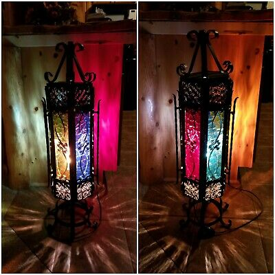 VTG Ornate Wrought Iron Stained Glass Black Metal Hexagon Table Lamp Black Goth