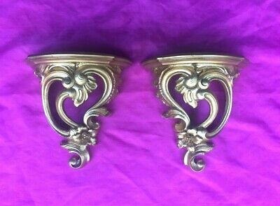 Pair of Vintage Syroco Hollywood Regency Gold Wall Sconce / Shelf - Nice!!