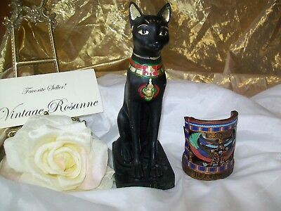 Egyptian Bastet Statue Goddess of Protection & Cats + Amenophis 2 Candle Holder