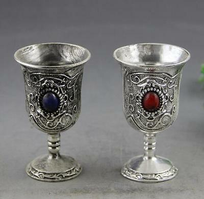 China old copper plating silver Handwork Carving Blue & Green Bead Pair Cups a02