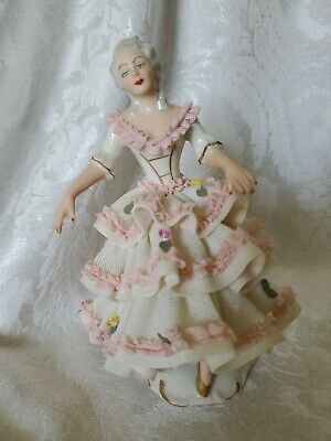 FANTASTIC German Dresden Porcelain Lace Figurine AWESOME CONDITION