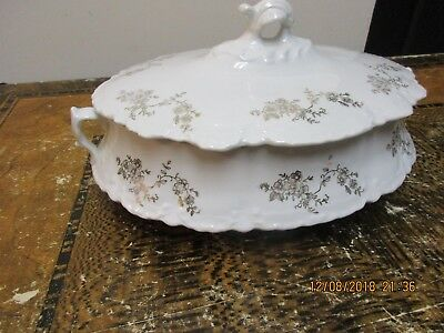 Victorian Antique Tureen, marked Majestic White Porcelain Floral scrolling