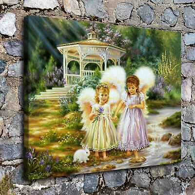 "16""x22""Little angel and rabbit HD Canvas Print Painting Home Decor Wall art"