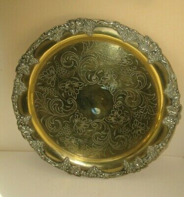 Vintage BRASS WINE SERVING TRAY Border of Grapes Leaves & Ornate Etched Center