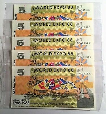 5 x CONSECUTIVE NUMBERED 1988 $5.00 BRISBANE WORLD EXPO NOTES IN SLEEVES, CH UNC