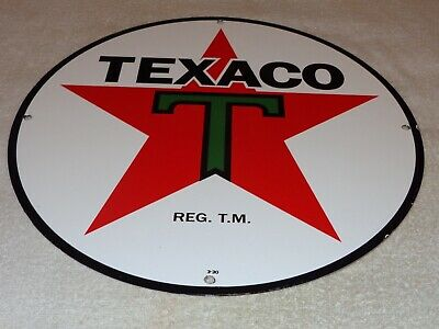 "Vintage Texaco Gasoline Star & Green T 15"" Porcelain Metal Enamel Gas & Oil Sign"