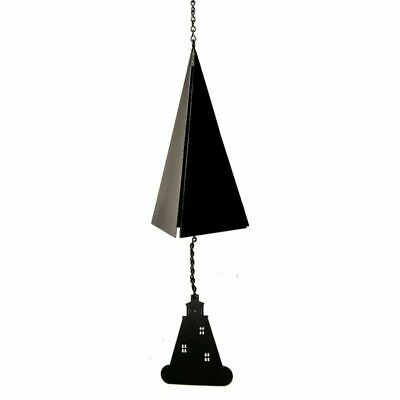 North Country Wind Bells 126.5024 Ships Bell with black lighthouse wind catcher