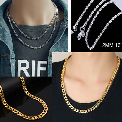 18k Yellow Solid Gold Filled Hip Hop Dance Chain Necklace Men's Women's Jewelry