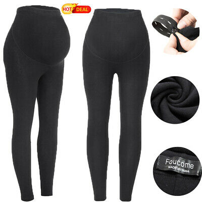 Women's Black Over The Belly Super Soft Support Maternity Leggings Cotton Pants