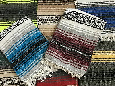 MEXIMART Yoga Blanket Hand Woven Authentic Mexican Falsa in Assorted Random