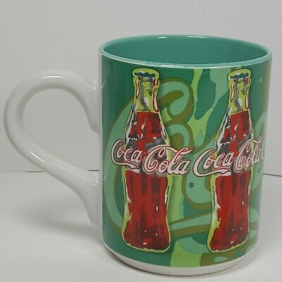 Coca-Cola Green Background Coffee Mug 1998 Vintage