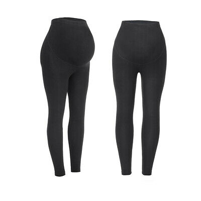 Women's Over The Belly Super Soft Support Maternity Comfort Cotton Leggings UK