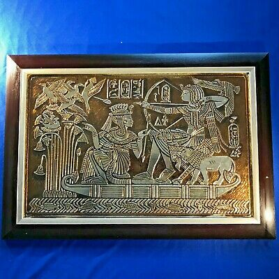 VINTAGE Handmade Egyptian Queen, Kings, Pharaohs on River Nile Foil Embossed Art