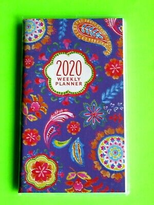 2020 BLUE WEEKLY PLANNER PAISLEY FLOWERS 1 year small Pocket Purse Calendar NEW