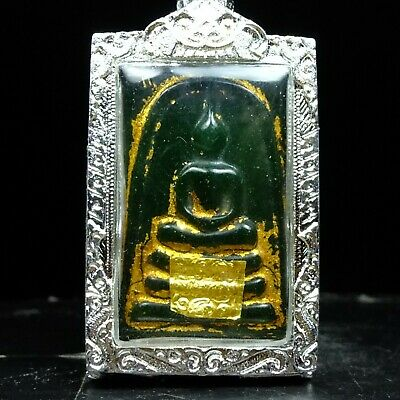 Old Beautyful Antique Phra Somdej Jade Thai Buddha Amulet Real.#2