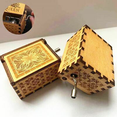 DIY Classical Hand Crank Engraved Wooden Music Box Kids Christmas Gift 64x52mm