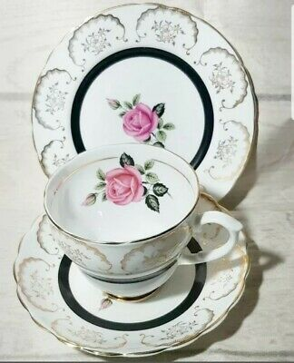 Vintage Imperial English China Trio Tea Cup Saucer Plate Pink Rose 22K gold gild