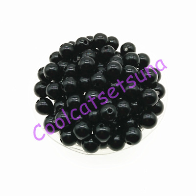 100Pcs 8mm Black Acrylic Round Smooth Ball Spacer Loose Beads DIY Jewelry