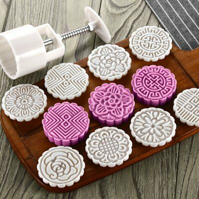 Mooncake Mold 75g + 8 Flower Stamps DIY Baking Pastry Round Moon Cake Mould Tool