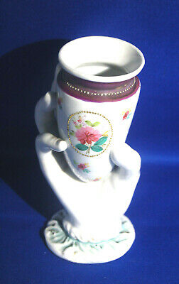 A lovely Victorian porcelain lady's hand posy vase, antique