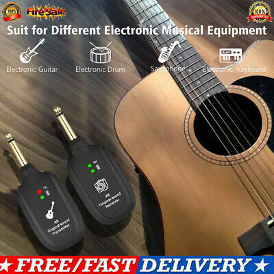 730MHz Wireless Audio System UHF Transmitter & Receiver Set For Electric Guitar