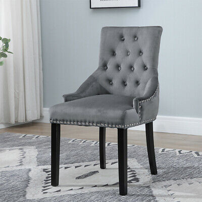 Astonishing 1 Grey Dining Chair Tufted With Knocker Accent Victoria Uwap Interior Chair Design Uwaporg