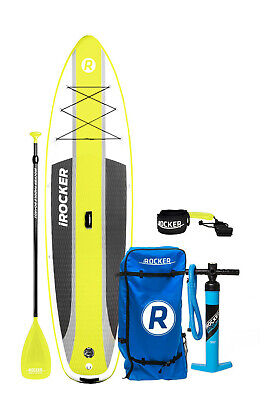 IROCKER CRUISER INFLATABLE STAND UP PADDLE BOARD 10'6X33X6 SUP SET(Yellow)
