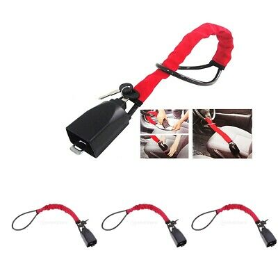 3x Steering Wheel Lock Strap Vehicle Anti-Theft Device Fits Most Cars