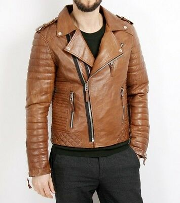New Men Quilted Leather Jacket Soft Lambskin Biker Bomber T850