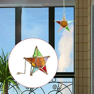 Pentagram Candlestick Wrought Iron Color Glass Lamp Holder Candle Home Deco T3R8