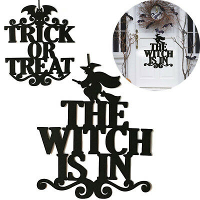 The Witch Is In Halloween Hanging Decor Door Sign Decoration Party Ornaments US