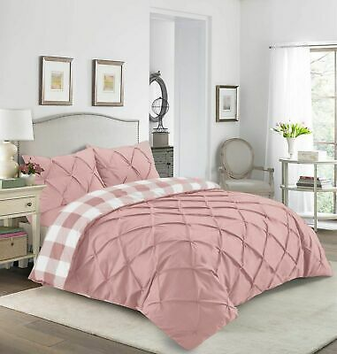 Pintuck Check Duvet Cover Set Luxury Quilt Covers Double King Super King Size