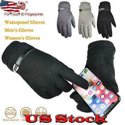 Mens Womens Gloves Sports Winter Suede Thermal Touch Screen Hiking Climbing US