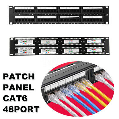 AU 48 Port 6 Category Patch Panel RJ45 Network Ethernet Rack Mount 110-Type