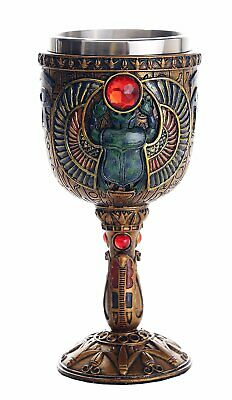 Pacific Giftware Ancient Egyptian Winged Scarab Ceremonial Chalice Cup 7oz Wine