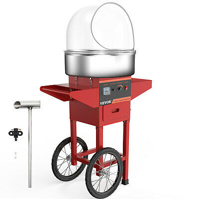 Electric Cotton Candy Machine Red Floss Carnival Commercial Maker w/Cart Cover