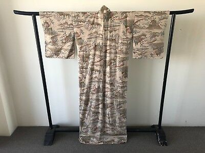 Japanese Vintage Silk Kimono Robe Authentic Costume One of a Kind Jacket