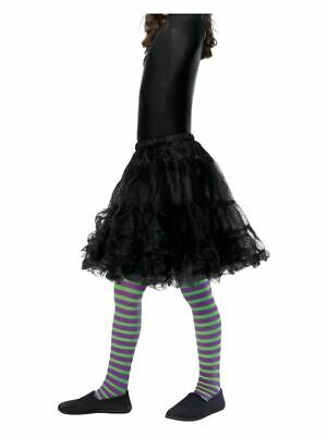 Girls Green & Purple Striped Wicked Witch Tights Halloween Fancy Dress Accessory