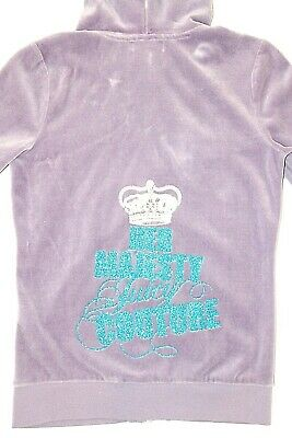 """Juicy Couture Girls Sz 12 Lavender Purple Velour Hoodie """"Her Majesty"""""""