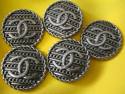 CHANEL  5 AUTHENTIC nice SILVER  24 MM BUTTONS THIS IS FOR FIVE
