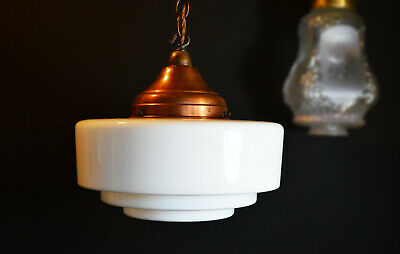 Vintage 40s art deco school house lantern light Opaline milk glass shade (AF)