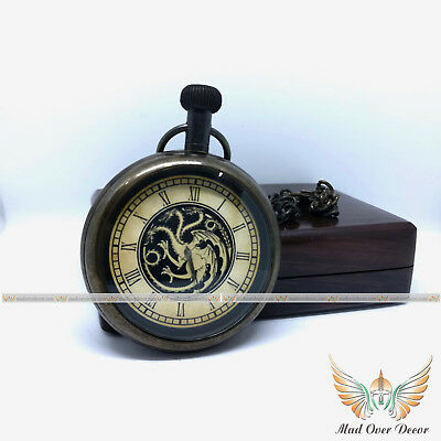 Vintage Brass Antique Collectible Game Of Thrones Pocket Watch With Wooden Box