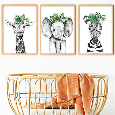 Safari tropical Nursery Wall Prints,boys nursery wall prints,Safari Decor,