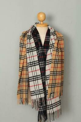 3 BURBERRY Scarfs Navy Grey and Beige Nova Check Lambswool Genuine